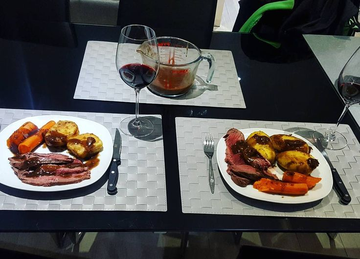 Saturday night in. 🍷🍽❤ Roasted venison haunch with fondant potatoes, whole roasted carrots and a red wine, rosemary and shallot jus.  #foodie #dinner #nightin #cooking #venison #fondant #saturdaynight #winenight #chill #coupleswhocook #datenight #wesofancy #foodporn #iifym #foodbloggers