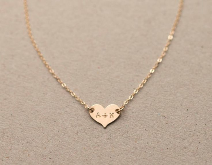 Delicate Personalized 14k Gold Heart Necklace; $25 at etsy.com