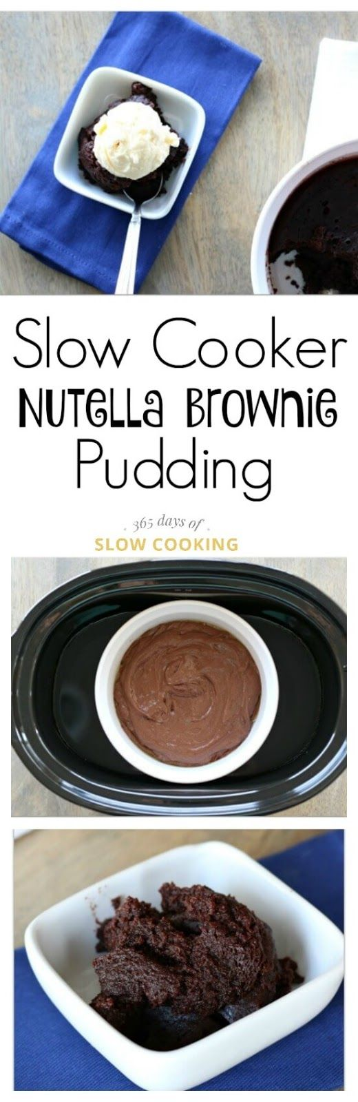 Slow Cooker Nutella Brownie Pudding Recipe--dense and moist and chocolatey