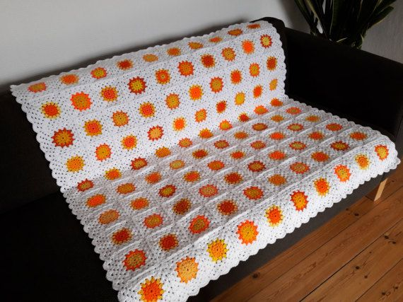 Yellow Throw Blanket Orange Throw Blanket Crochet by PhoenixSmiles