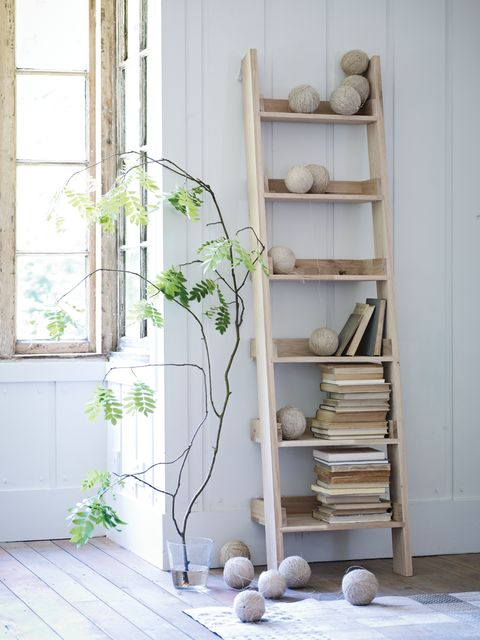 wooden ladder shelves