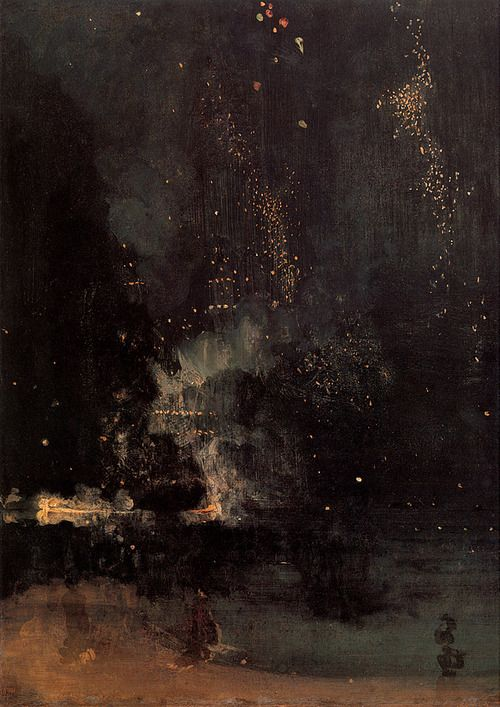 Nocturne in Black and Gold, The Falling Rocket by James Abbott McNeil Whistler (probably 1875). Oil on Canvas, 60 x 47 cm. Detroit Institute of Arts, USA.