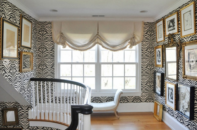 LOVE the zebra wallpaper in a traditional space | megan winters atelier and maison