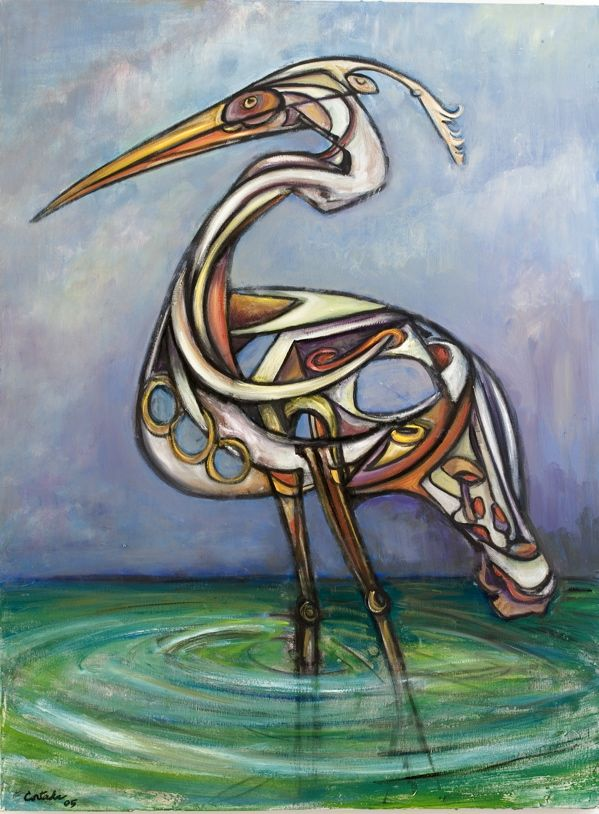 Heron, a painting by Miami Artist Xavier Cortada, 2005