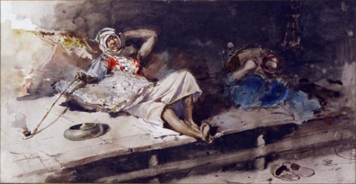 """Mariano Fortuny, """"The Opium Smoker,"""" 1867, Museo Poldi Pezzoli, Milan. Now that's a pipe! #Opium #Art #Painting #Drugs #BreakingBad #Watercolor #MarianoFortuny #Orientalism"""