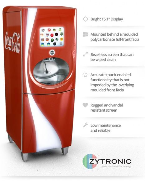 Coca-Cola Freestyle touch screen beverage dispenser - a durable, reliable PCT™ fit for a challenging, quick-serve restaurant environment.