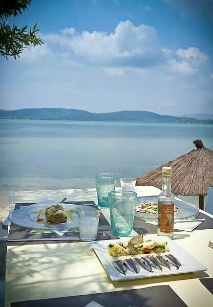 Enjoying the view eating marinated sardines and ouzo! Halkidiki , Vourvourou Greece
