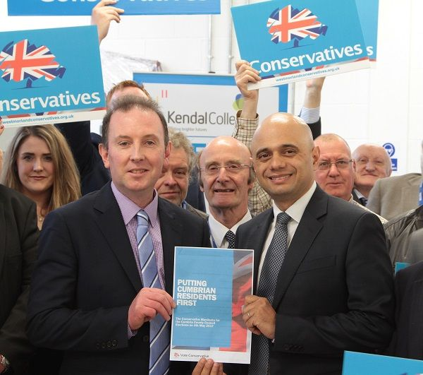 Cabinet Minister Sajid Javid launches Conservative manifesto in Cumbria http://www.cumbriacrack.com/wp-content/uploads/2017/03/Cabinet-Minister-Sajid-Javid-and-Cumbria-Conservative-Group-Leader-James-Airey-launch-the-Conservative-manifesto-in-Kendal.jpg Sajid Javid, Secretary of State for Communities and Local Government Kendal College yesterday (Thursday 31 March 2017), launched the Conservative manifesto    http://www.cumbriacrack.com/2017/03/31/cabinet-minister-sajid-javid