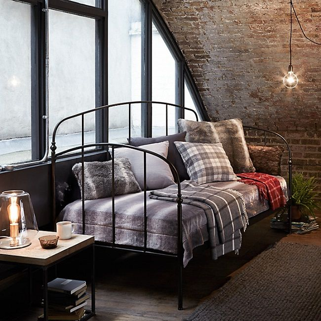 industrial bedroom furniture, black metal daybed