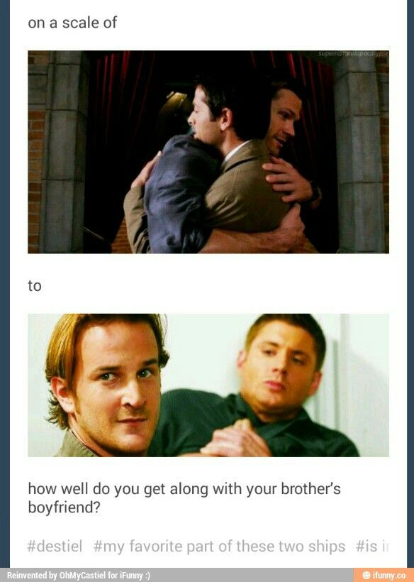 getting along with your brother's boyfriend (Destiel & Sabriel)