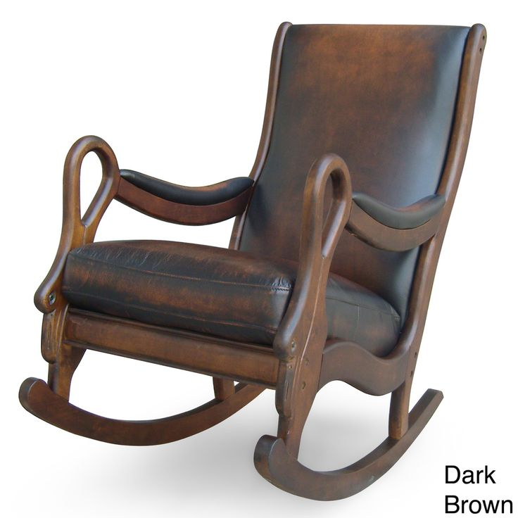 Vintage Leather Rocking Chair   Overstock.com