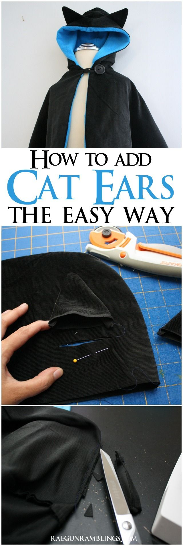 The fastest and easiest way to add cat ears to any hood - Rae Gun Ramblings