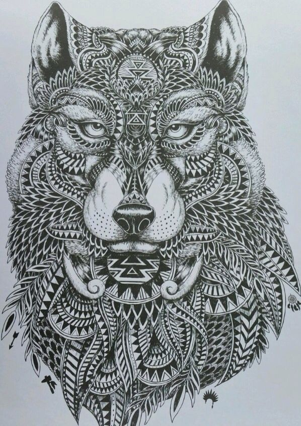 •very intricate wolf design•  would be a awesome tattoo