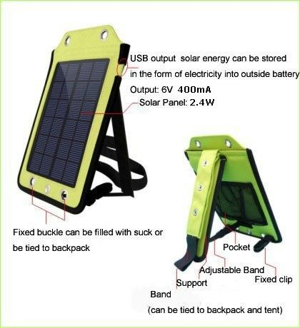 Geek | Tree Solar Charger Outdoor Camping Travel Mobile Phone Solar Panel Power Battery Solar Powered Backpack Charger (Kleur: Groen)