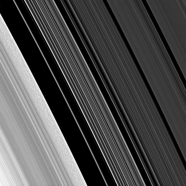"""""""Scrambling Saturn's B-ring: Zooming in on clumps in Saturn's B-ring (lower left), the image also spans the ringlets of the Cassini Division towards the A-ring in the top right. The view looks toward the sunlit side of the rings from about 31 degrees below the ring plane. The image scale is approximately 2 km per pixel.    Cassini is a joint mission between ESA, NASA and ASI and has been in orbit around Saturn since 2004. The second phase, the Cassini Solstice Mission, will continue until…"""