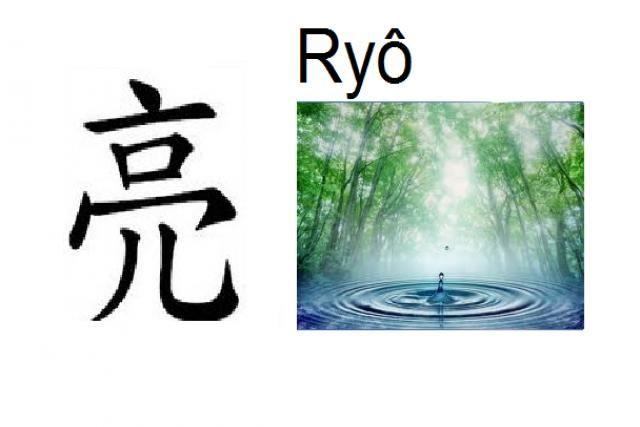 Significado: Radiante, claro, ayudar  Pronunciación: Ryô, Akira, Suke  Nombre de: Chico  También usado en nombres compuestos (Ryosuke, Ryota, Ryotaro)  Shin puede ser escrito con otros kanji con otros significados: 涼, 遼, 瞭, 良, 諒