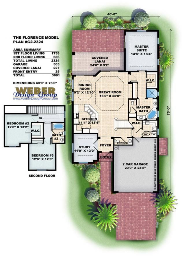 Narrow lot floor plans florence home plan by weber for Weber house plans