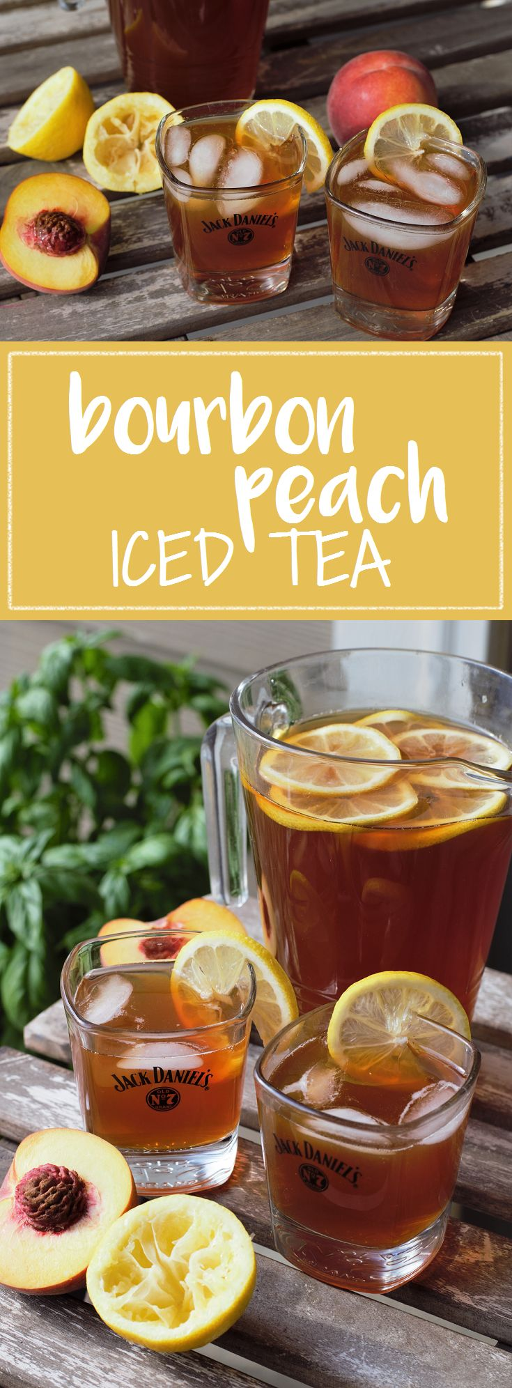Spiked iced tea with peach simple syrup & a big glug of whiskey is…