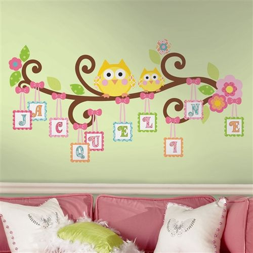$23.48 Owls on a Tree Wall Decals for Girls Rooms and Baby Nursery - Cute Owls Baby Nursery Wall Stickers - Owl Alphabet Wall Murals Decor