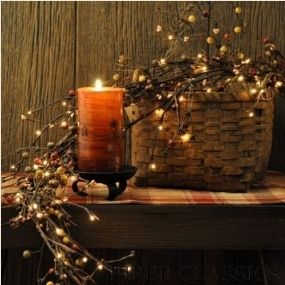 primitive: Fall Decoration, Twig Garlands, White Lighting, Decoration Idea, Primitives Country, Candles Decoration, Primitives Decoration, Country Decoration, Wax Lighting