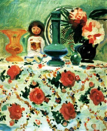 """Gustaw Gwozdecki(1880-1935),""""Martwa natura z japońską laleczką"""", ok. 1910,"""