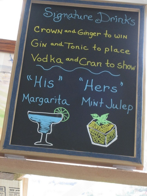 """Signature """"His"""" and """"Hers"""" Cocktails Written on a Chalkboard - From Our Kentucky Derby Wedding"""