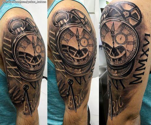 Tatuaje de Relojes, Engranajes, Números Romanos - ZonaTattoos.com