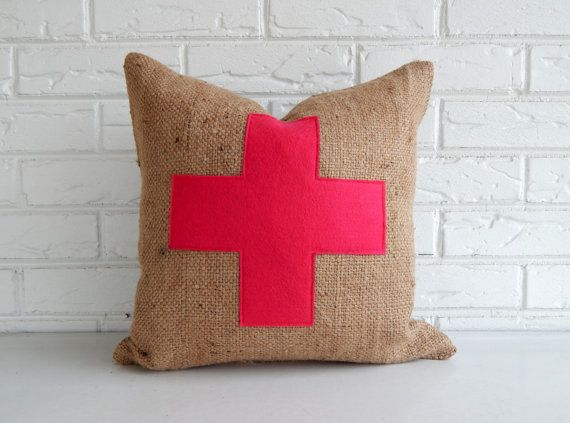 Hot Pink Swiss Cross Pillow Cover in Burlap - Modern Eclectic Throw Pillows on Etsy, kr318,82