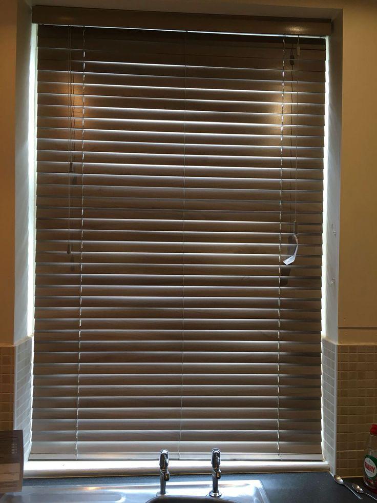 Wooden Venetian blinds for a customer's kitchen, Warrington. www.blindswarrington.co.uk