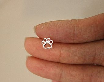 Sterling Silver Dog Paw Cartilage Earring Cute Stud Puppy Small Y Tiny