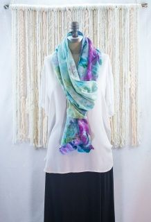 This hand-dyed Monet-inspired shawl is ready to ship. This shawl scarf is made from buttery soft rayon and hand dyed using an ice dye technique. This shawl-scarf is a true outfit maker and can be worn as shawl and also as a scarf. Wear it as a statement piece over jeans, maxi skirts, and leggings. Makes a beautiful swim suit cover up as well. The possibilities are endless with this beauty!