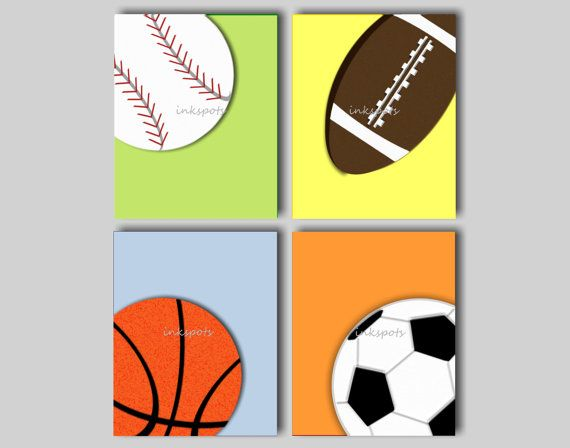 Baby Boy Sports Nursery Decor Boys Room Sports Art Sports Prints Football Art Baseball Art Sports Wall Art Choose Colors 8 x  10 Print Quad