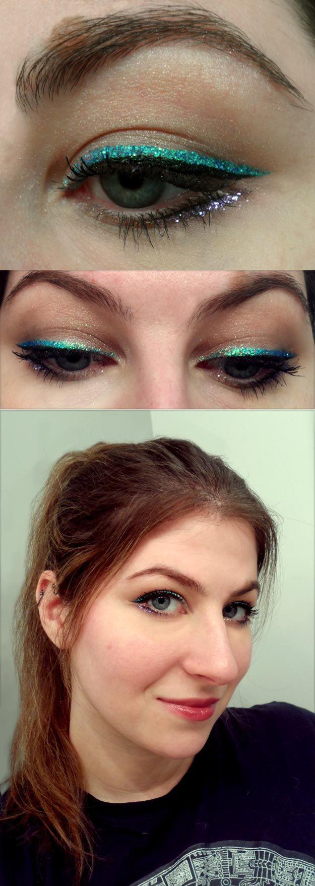 Party Makeup! Emerald Glitter Eyeliner