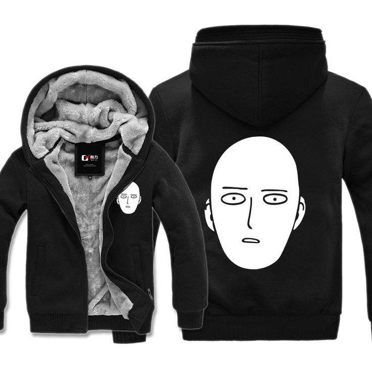 One Punch Man Hero Saitama Oppai Logo Hoodie Jacket Zip up Fleece Super Warm Coat Sweatshirt Suit Outfit - free shipping worldwide