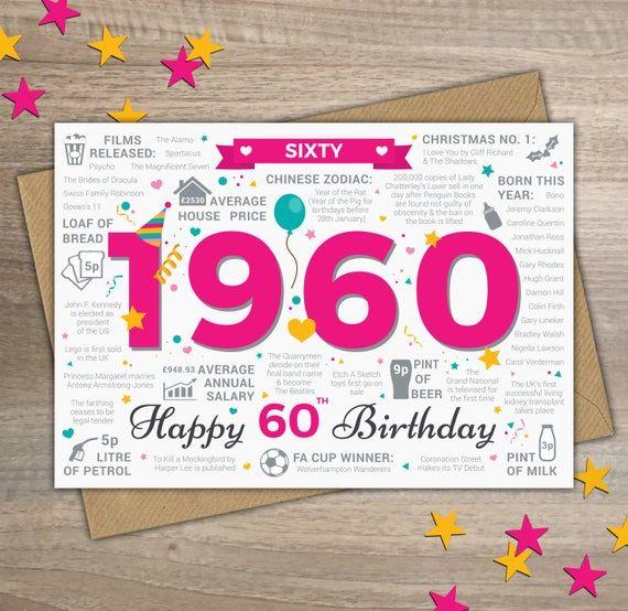Happy 60th Birthday Womens Female Sixty Greetings Card Etsy 40th Birthday Cards 21st Birthday Cards 50th Birthday Cards
