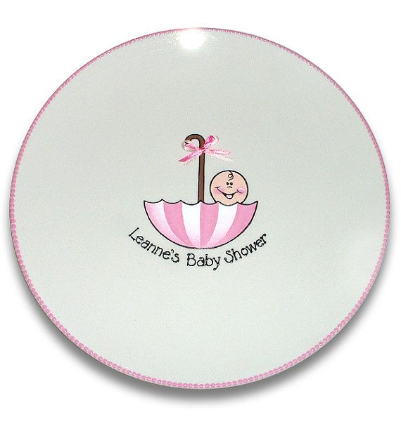 Baby Shower Plate: Umbrella Baby Shower Personalized Signature Platter