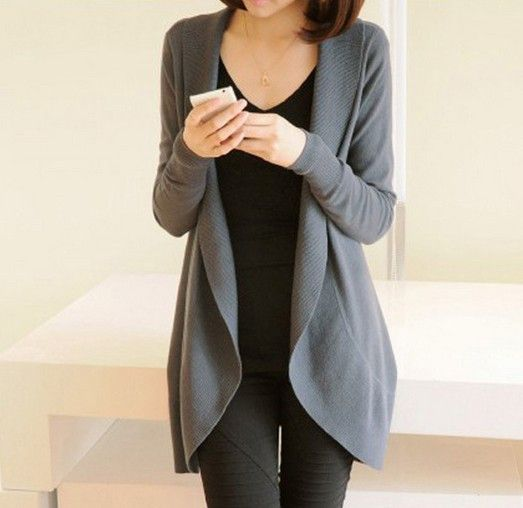 New Women Long Sleeve Knitted Sweater Casual Solid Scarf Collar