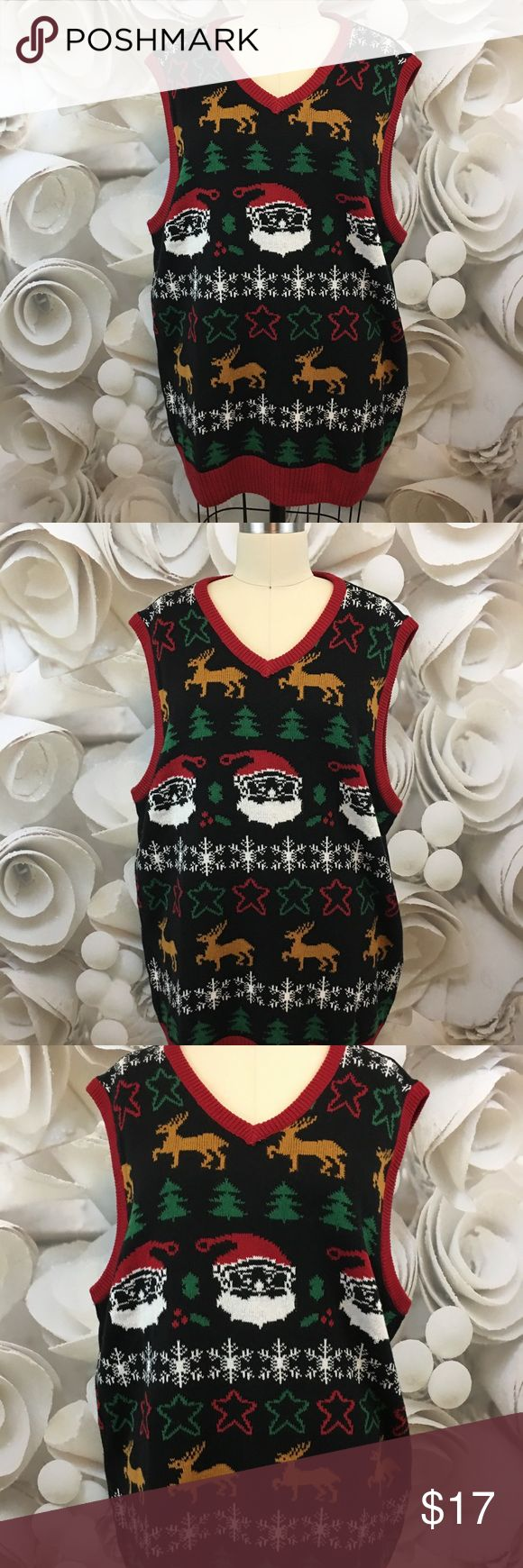 Ugly Christmas Sweater Vest Holiday VNeck Sz XL Ugly Christmas Sweater Mens Sweater Vest Holiday Themed VNeck Multicolor Sz XL - EUC     Measurements:  Chest:  50 inches around Shoulder to hem:  30 inches long Sleeveless / Vest Exact Fabric Blend: 60% Cotton, 40% Acrylic Ugly Christmas Sweater Sweaters V-Neck