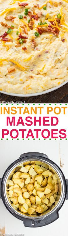 These are the BEST Instant Pot Mashed Potatoes EVER!! Only takes 8 minutes to make! #thanksgivingrecipes #holidayrecipes #christmasrecipes #sidedishes #holidaypartyfood