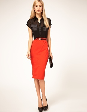 LOVE.: Pencil Skirts I, Women Fashion, Belts 18 00, Asos Jersey, Beautiful Pick, Contrast Belts, Jersey Pencil, Red Pencil, Bright Pencil