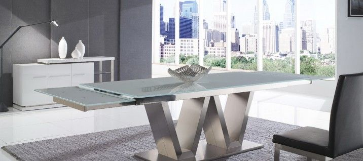 Venus G2011 Extension Glass Dining Table. Designed for extravagant spaces with a stylish determination, the Venus Extension Glass Table offers the perfect combination of strength, delicateness, and sophistication. To see more of our designer furniture, visit our Melbourne showrooms today.