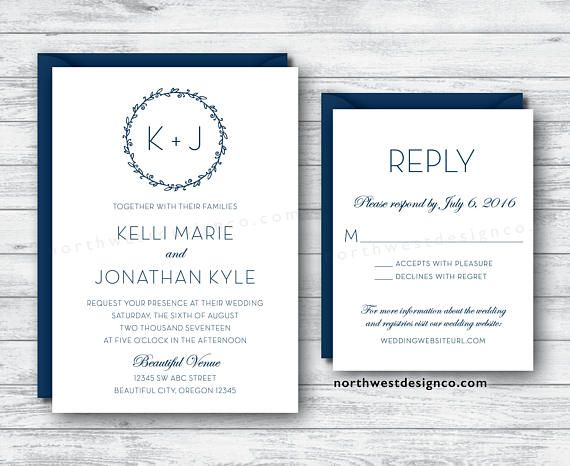 Modern White & Navy Blue Wedding Invitation and Reply Card