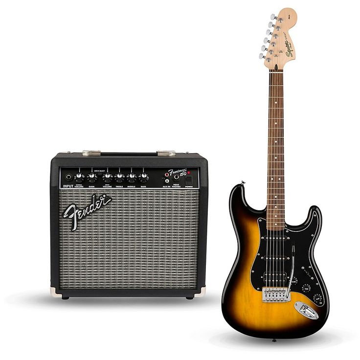 Squier Affinity Series Strat Pack HSS Electric Guitar with Fender Frontman 15G Amp Brown Sunburst