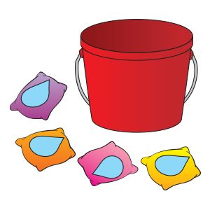 For this partner activity, attach a raindrop cutout to each of several beanbags and provide a plastic bucket. To play one child tosses a raindrop in the air and her partner attempts to catch it in the bucket. Play continues in the same way with each remaining raindrop. Then the partners switch places.