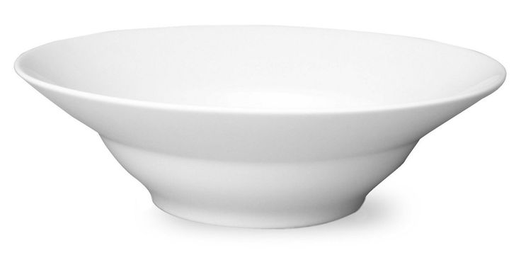 This transitional serving bowl features a rimmed, tapered silhouette in clean white porcelain that will coordinate seamlessly in a variety of table settings. Just as important, it's microwave safe...