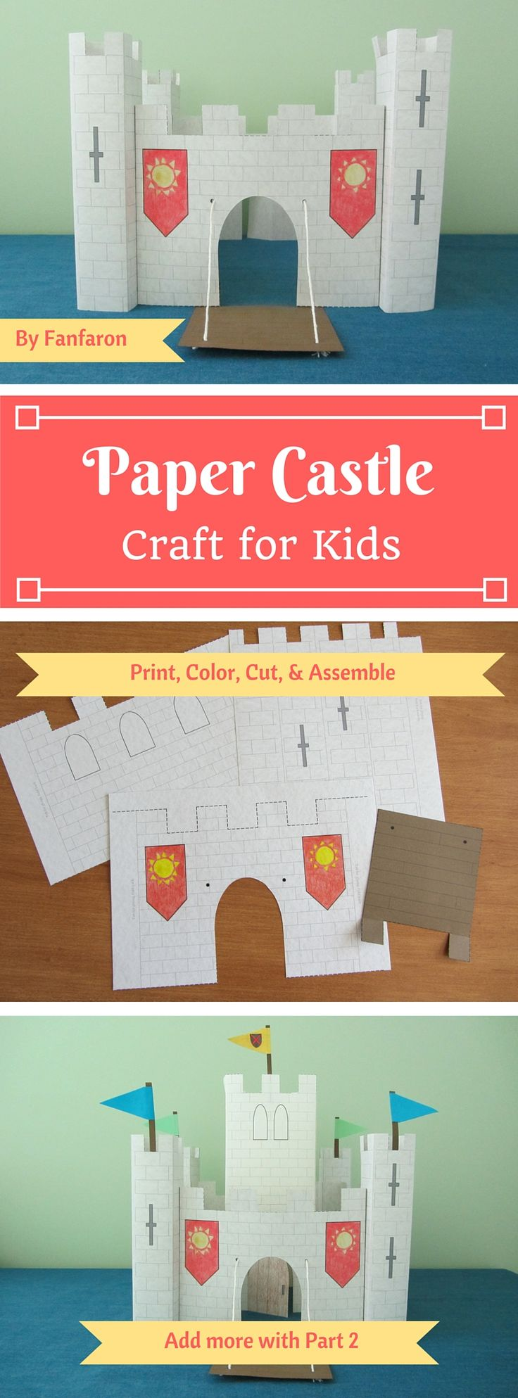 Make a medieval castle out of paper! Simply purchase the template, print it from your home computer, and start crafting. Watch the video instructions on YouTube to see how it's done! www.youtube.com/c/fanfaronbylaura    If you're feeling ambitious, purchase part 2 to add a central keep and flags to your project.