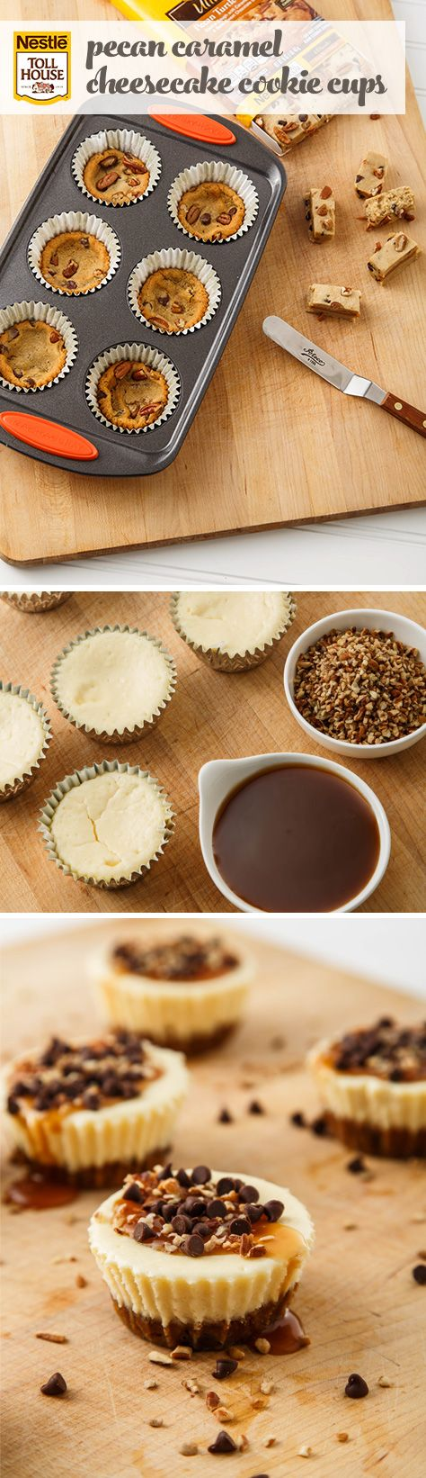 Pecan Caramel Cheesecake Cookie Cups (could do in mini muffin tin for great party dessert)