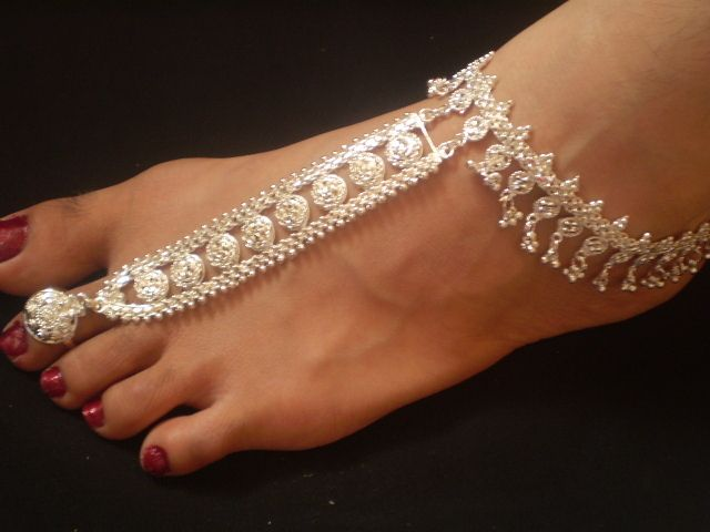 2 pcs SILVER POLISH INDIAN ONE TOE RING SLAVE-ANKLET JEWELERY PAIR picclick.com