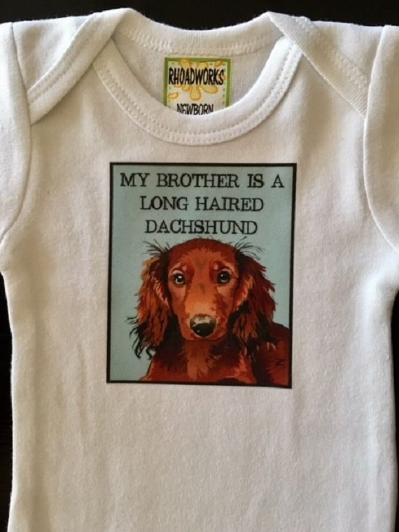 4e10715e8 Long Haired Dachshund Onesie or Tee | Dogs and Baby | Onesies, Homemade baby  gifts, Handmade baby gifts