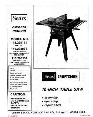 Details about Craftsman 113.298141 113.298031 113.298151